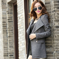 2014 cashmere woolen outerwear fashion medium-long slim woolen overcoat plus size clothing