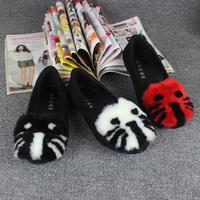 2014 women's shoes fashion velvet berber fleece cat shallow mouth shoes flat