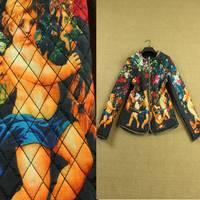 Winter fashion women elegant character print pattern zipper long-sleeve chain short jacket