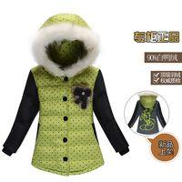 Free shipping 2014 winter new fashion flower children baby girls kids fur collar hooded down jackets parkas coats outerwear