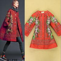 Top fashion 2014 ruslana korshunova vintage golden key embossed print elegant women's trench coat outerwear