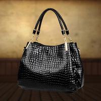 Women's bags 2014 one shoulder women's for Crocodile women's genuine leather handbag big bag first layer of cowhide cross-body