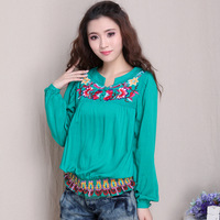 National 2014 trend slim elastic waist shirt embroidered t-shirt female