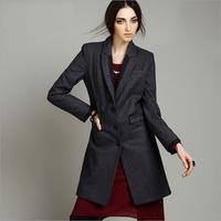 2014 fashion plus size clothing slim wool coat medium-long outerwear female