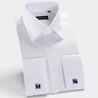 Man Spring and autumn 2014 long-sleeve men shirt  French cuff mens dress shirts brand men clothes free shipping