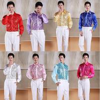 2014 New fashion Men shirts slim paillette suit formal dress shirt long sleeve mise en scene