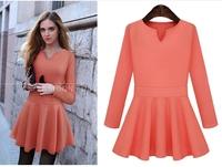 New Women Autumn Dress 2014 Winter Fashion Long Sleeve Hip Cotton Patchwork Elegant Bodycon Dresses Lady