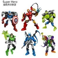 3pcs/Set Super Hero Avengers Building Blocks Toy Iron Man Captain America The hulk The Joker Green Lantern Batman Children's Toy
