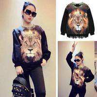 Hot new fashion lace stitching new Lionhead 3D printing hedging sweater female personality Sweat sweatshirt. Free Shipping
