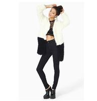 Black White Color Block Patchwork Long-Sleeve Soft  Wool Fleece Faux Fur Coat Faux Long Outerwear Female Overcoat Jackets Women