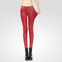Fashion women's fashion legging spring low-waist faux leather elastic legging
