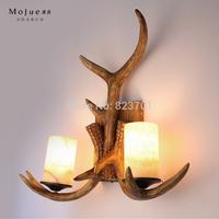 Vintage rustic double slider long antlers wall lamp d