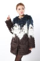Quality raccoon fur faux women's medium-long outerwear