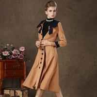 6060 fashion vintage patchwork sailor collar slim waist woolen full dress woolen one-piece dress