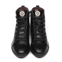2014 Versa Brand Medusa Luxury High Top Men Sneakers Classic Genuine Leather Shoes black Free Shipping in stock