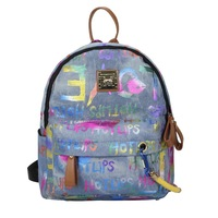 New women Graffiti Printed Canvas Backpack  Multicolored Ropes book bag Travel Bags fashion lovers doodle backpack school bag