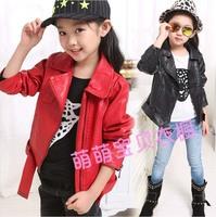 Female Child 2014 Autumn Winter Plus Velvet New Fashion Short Design Thick PU Leather Children Outerwear Girls Jacket