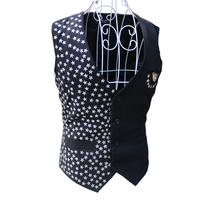 2014 New Fashion Personality Novelty Black Male DJ Paillette Rivet Vest NightClub singer performance wear