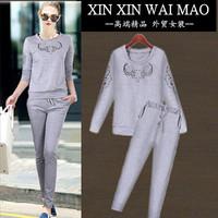 Fashion 2014 o-neck long-sleeve slim sweatshirt casual trousers twinset female