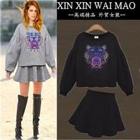 Fashion women's autumn lantern sleeve print loose plus size sweatshirt bust skirt casual twinset