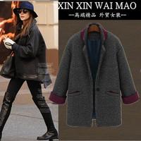 Fashion 2014 suit collar loose plus size solid color woolen outerwear female