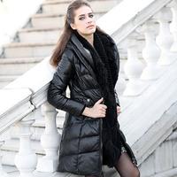 New 2015 Fashion Womens Genuine Sheepskin Leather Down Coat & Jacket Females Winter Hooded Clothing Black XL XXL XXXL 2XL 3XL