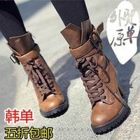 New 2014 european and american fashion sweety lace up women high heel shoes autumn and winter boots fur