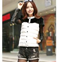 Fashion 2014 winter women's Cotton-padded jacket pu leather fur collar Slim short-sleeved coat free shipping