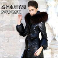 Luxurious New 2015 Women Down Jacket Coat Geniune Sheepskin Leather With Real Fur Hoodie Mink Hair Black Slim Long W1410121148