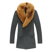 Winter men's clothing detachable fur collar overcoat medium-long woolen overcoat slim fashion coat