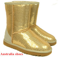 New 2014 Glitter Fur Snow Boots For Women Australia Shoes Top Brand Flat Heel Fashion Winter Warm Shoes Plus Size 35-40