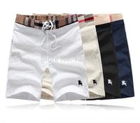 2014 men beach shorts draw string elastic plaid waist london fashion brand short pants