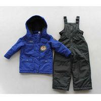 Children's ski suit cartoon Plane Boys waterproof thickening cotton-padded jacket plus velvet bib pants Snow Clothing sets 2PCS