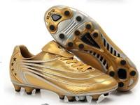 2014 football shoes ag tf hg round broken gel nails professional outdoor sport soccer  shoes golden silver black color