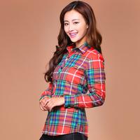 2014 hot sales autumn woman plaid shirt female long-sleeve women's slim 100% cotton shirt casual