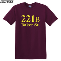 mens t shirts fashion 2014 New Short-sleeve T-shirt 100% cotton o-neck sitcoms aker 221b b for street t-shirt men clothing