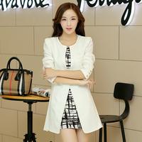 2014 Autumn New Arrival Mid Length OL Elegant Long Blazer Jacket Women 2 Colors 813