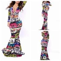 2014 Summer New fashion women's sexy Bandage Bodycon dress hollow digital printing nightclub dress. Free Shipping