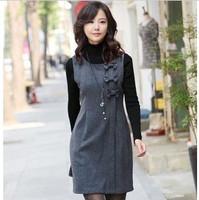 NEW 2014 fat women autumn winter slim sleeveless OL outfit woolen vest dress women tank vest dress large size