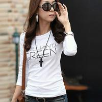 2014 autumn women's slim basic shirt female o-neck pullover letter T-shirt long-sleeve top