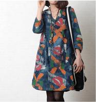 Autumn 2014 women's fluid medium-long half sleeve loose plus size print denim one-piece dress