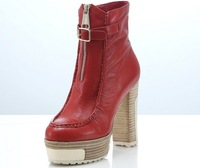 2014 winter single boots ultra high heels martin high quality genuine soft leather shoes red color, wholesales, Free Shipping