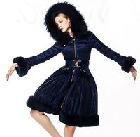 High quality luxury 2014 winter down coat women elegant blue fashion large rabbit hair fur collar hooded  long coats outerwear