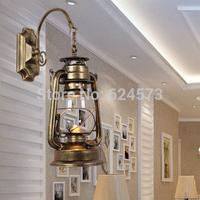 European Antique Iron Wall restaurant bar Coffee hall aisle lights retro lantern kerosene lamp vintage wall lamp