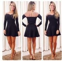 Ebay 303 hot-selling sexy transparent gauze patchwork black lace long-sleeve mini short fashion one-piece dress female