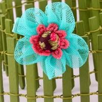 cute mesh cloth flower shaped duck hair clip