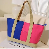 New arrival  With thick canvas  Contrast color leisure female bag   frree  shipping