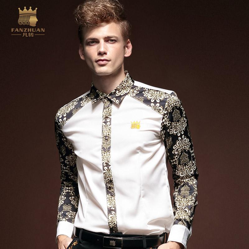 New 2014 men's clothing  male flower shirt basic shirt  male long-sleeve slim fit  business shirt commercial plus size M-XXXL(China (Mainland))