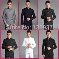 ( Jacket + pants ) Good quality 2014 New fashion leisure men suits slim chinese tunic suit school uniform groom wedding dress