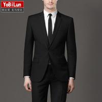 2014 New High quality Slim Men suits Jacket + Pants fashion leisure men's Black Dress suit groom wedding